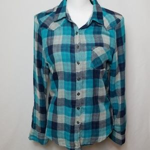 Mudd Blue Long Sleeve Buffalo Plaid Shirt